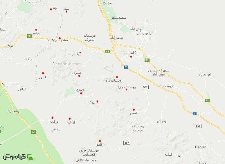 نقشه مکان های گلاب گیری کاشان 98